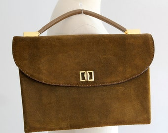 SALE!!! 1960's Brown Suede Leather LOEWE Bag With Matching Coin Purse and Mirror (Never Worn)