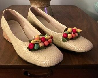 Vintage Pin Up Burlesque Josephine Baker Fruit Shoes Cork Bottoms Joyce 1960's Mod