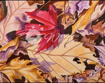 Fallen Leaves: 9x12 print of an original watercolor painting