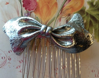 Hair Combs- Retro Bow Brooch- Vintage Wedding , Bridal, Prom Hair Accessories