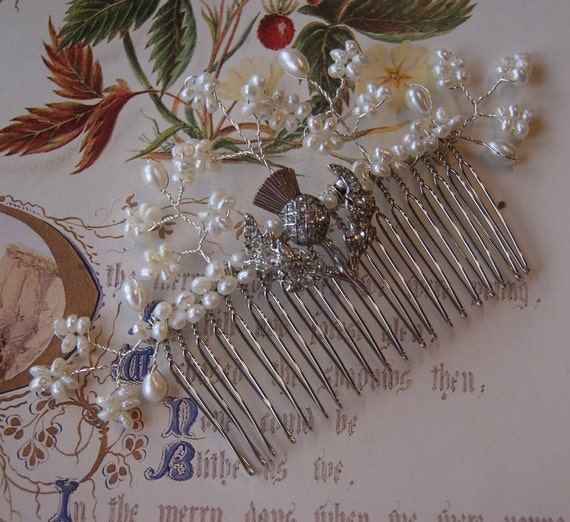 Vintage Silver Scottish Thistle & Freshwater Pearl Hair Comb