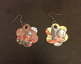 Thor recycled comic earrings