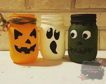 Hand Painted Mason Jars-Halloween inspired (3 Jars included)