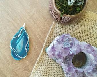 Large Blue Agate Slice Necklace