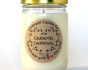 Caramel Carnival Candle (FREE SHIPPING) - 12 oz Jar, Lorenzen Candle Co, Fall / Winter Line, Scented Soy Candle