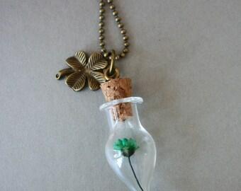Green daisy bottle necklace clover