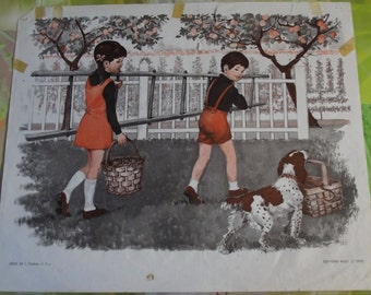 Old poster House of teachers France 1970 Rare picking apples in the garden and the departure for school