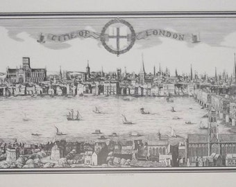 Map of Old London Citie - panoramic print - 35cm x 100cm - old london city map