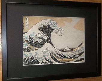 Mounted and framed giant wave print, 12''x16'' framed, Waves at Kanagawa by Katsushika Hokusai