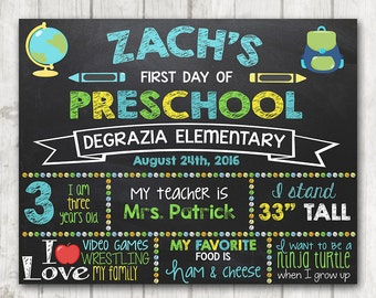 Boy Printable First Day of School Sign First Day of Preschool Chalkboard Sign Printable Kindergarten Sign Back to School Photo Prop 11 x 14