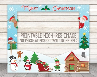 PRINTABLE Christmas Photo Booth Frame, Holiday Party Photo Booth Frame, Photo Booth Prop, Merry Christmas Photobooth Prop, Reindeer Santa