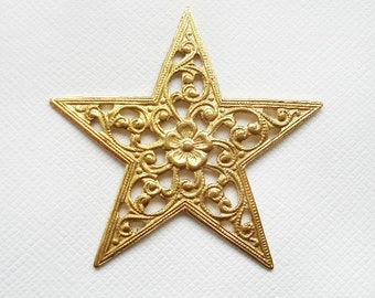 1 Raw Brass Open floral Star Stamping