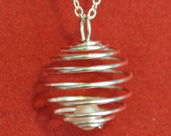 Spiral Ball Pearl Cage Locket Pendant