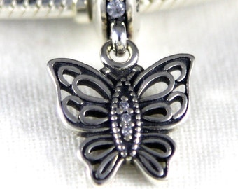 Butterfly Sterling Silver European Charm Bead with CZ