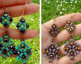 Earrings with crystals and seed beads, beading superduo.