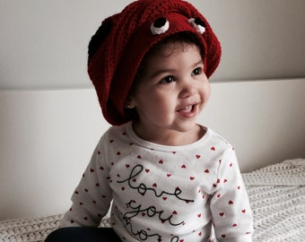 Knit Baby Ladybug Hat