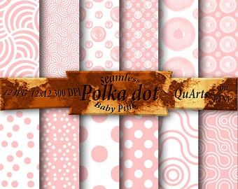 Baby Pink Polka Dot digital Paper: White and Pink Digital Paper, Pink and White Printable Patterns, Pink and White Scrapbook Paper