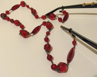 Vintage Inspired Red Glasses Spectacle Chain Holder