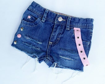 Pretty in Pink Studded Distressed Denim Shorts
