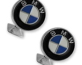 Sterling silver with enamel BMW cufflinks NEW