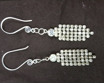 Repurposed rhinestone jewelry from the 40s or 50s....made into dangle earrings