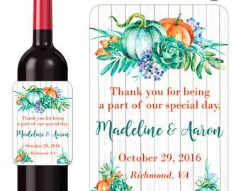 Rustic Autumn Wedding Wine Labels Pumpkins and Eucaltyptus Custom Personalized Beverage Label Waterproof Vinyl 3.5 x 5 Inch