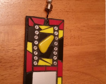 Red, Yellow and Black stained glass and mirror mosaic