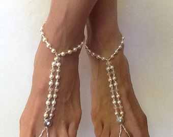 Barefoot Sandals, Champagne Two Strand Mediallion Barefoot Sandal, Wedding Sandals for the Beach, Foot Jewelry for a Wedding