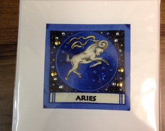 Hand Quilted Sewn Greetings Card Aries Birthday