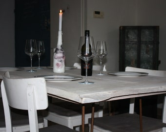 Dining table with hairpin legs
