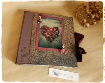 Large Handmade Wedding Guest Book, Photo Album, Romantic Wedding, Rustic,Love, Heart, Red Rose, Vintage, Retro, Rustic Wedding, Guest Book,