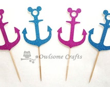 Mickey Mouse Anchor Glitter Cupcake Toppers - Food Picks - Party Picks - Birthday Party Pick - Wedding Cupcake Topper - Custom Toppers