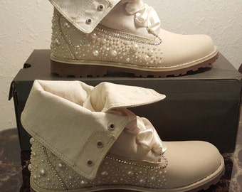 Custom Pearl Timberlands
