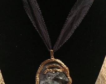 Gold dipped Crystal Geode OAK pendant