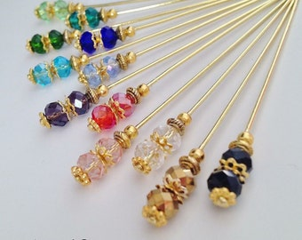 Crystal hijab pins/hat pins, scarf pins, brooches.