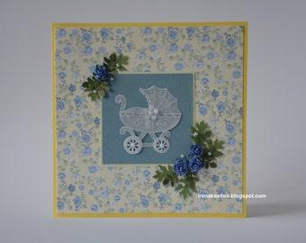 Handmade pergamano baby boy card
