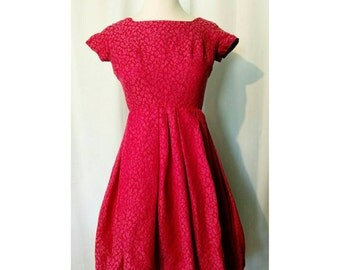 Gay Gibson Red/Pink Jacquard 1950s Dress
