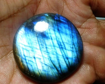 Natural Labradorite Round Shape Blue Fire,,72.30 Cts,,,Size 34x34x8 mm, Loose Gemstone,,Pct,,469