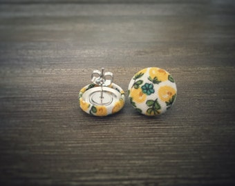 Yellow Floral Earrings. Vintage Floral Fabric. Handmade Earrings. Fabric Button Earrings. Gifts For Her. Stud Earrings. Clip On Earrings.