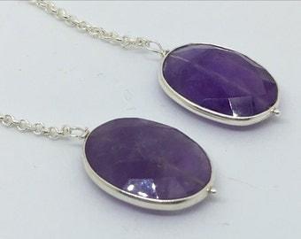 amethyst drop earrings, extra long drop earrings, sterling silver drop earrings, gift idea, bezel set earrings, boutique jewellery