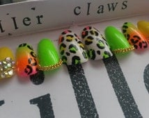 JUNGLE IS MASSIVE neon leopard print fake false press on nails  crystal green yellow available in stiletto coffin round square teen gift