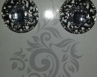 NEW: Silver Metal Rhinestone Earrings