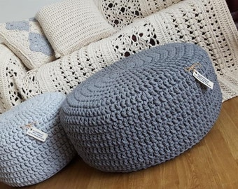 madeinPoland/ chunky pouf/ big scale/ Crochet pouf, crochet footstool, round pouf, knitted pouf, chunky knitting, pouf, footstool, table