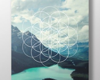 Geometric nature mountain wall art printable instant download