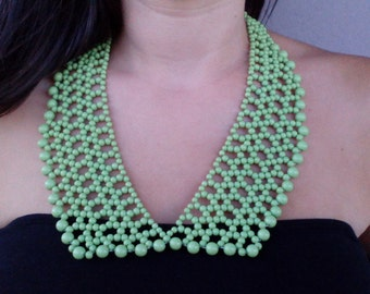 Bib necklace, statement necklace, green statement necklace, romantic necklace, green bib necklace, modern necklace