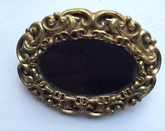 Antique Rolled Gold & Jet Mourning Brooch