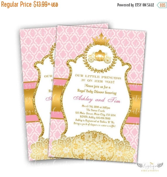 ON SALE Princess, Royal Carriage, Doilies Baby Shower Invitations & Blank Thank You Card to match