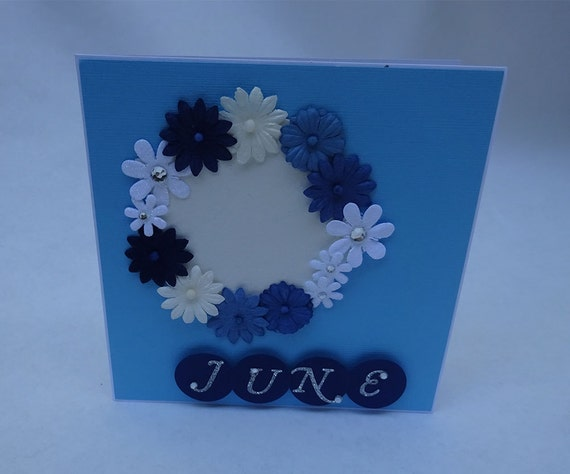 Greeting Cards - Handmade June Monthly Card with Flowers