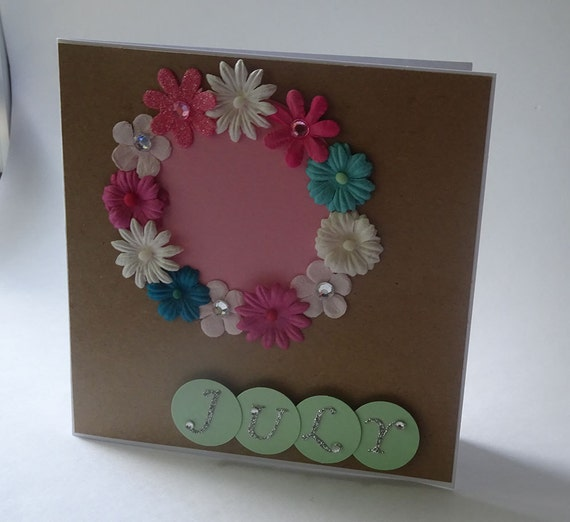 Greeting Cards - Handmade July Monthly Kraft Card with Flowers