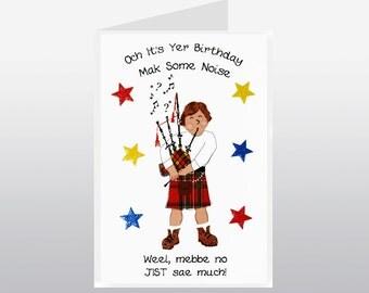 Scottish Birthday Card Piper WWBI63
